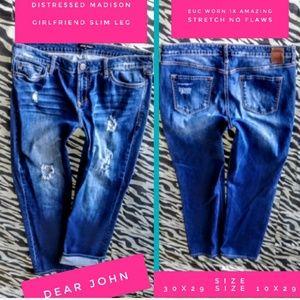 Dear John Jeans Size 30/10X29 Madison Girlfriend